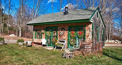 Maine Farmhouse Photograph - Winterberry Farm Stand by Guy Whiteley