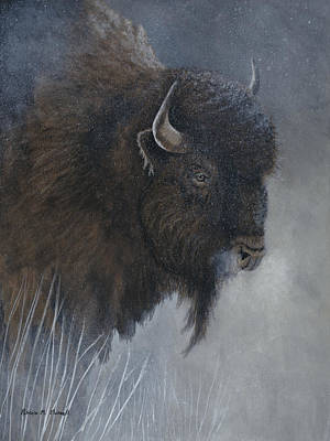 Winter's Breathwoods Bison Original by Patricia Mansell