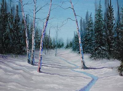 Cross-country Skiing Painting - Winter's Day by Xochi Hughes Madera