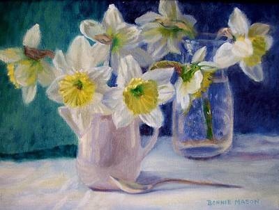 Still Life With Daffodils Painting - Winter's End by Bonnie Mason