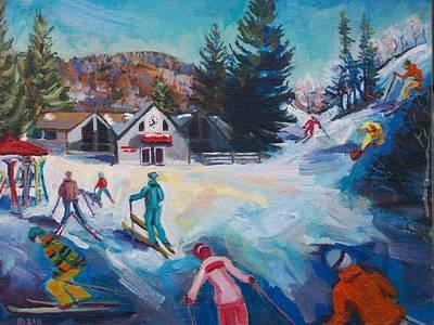 Ski Painting - Wintertime Fun by Margaret Buchte