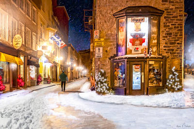 Wintery Streets Of Old Quebec At Night Print by Mark Tisdale