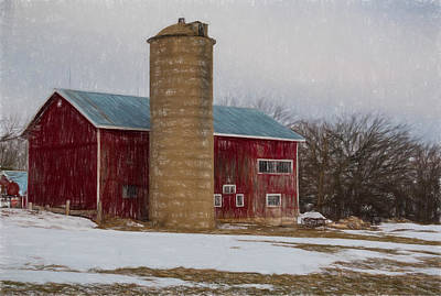 Lake Como Mixed Media - Wintry Day On The Farm 2 by Kathleen Scanlan