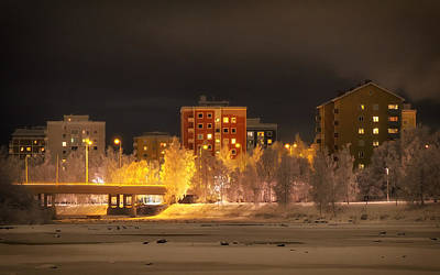 Snowy Night Photograph - Wintry Night In Oulu Finland by Mountain Dreams