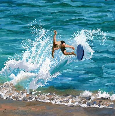 Surfboards Painting - Wipeout by Alice Leggett
