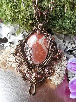 Wire Wrap Jewelry Jewelry - Wire Wrapped Pendant Necklace Fossil Coral In Copper Handmade Wire Weaved Jewelry by Izzy Gumbo
