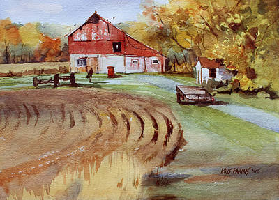 Farm Fields Painting - Wisconsin Barn by Kris Parins