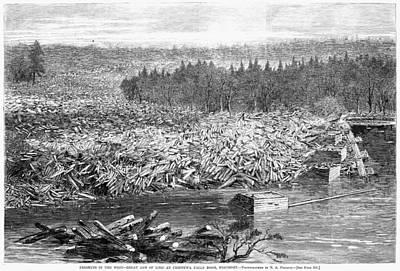 Adrift Painting - Wisconsin Lumbering, 1869 by Granger
