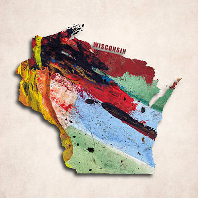 Abstract Map Digital Art - Wisconsin Map Art - Painted Map Of Wisconsin by World Art Prints And Designs