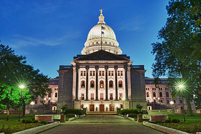 Wisconsin State Capitol Building At Night Print by Sebastian Musial