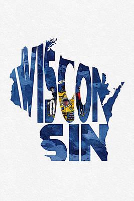 Wisconsin Typographic Map Flag Print by Ayse Deniz