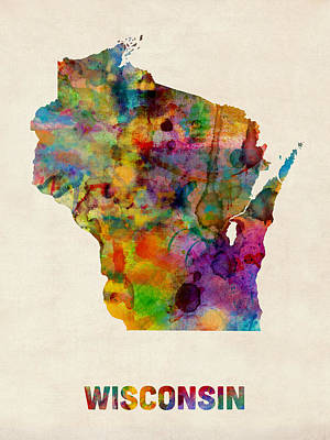Geography Digital Art - Wisconsin Watercolor Map by Michael Tompsett