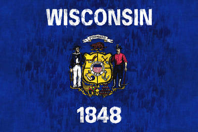 Wisconsin Flag Print by World Art Prints And Designs