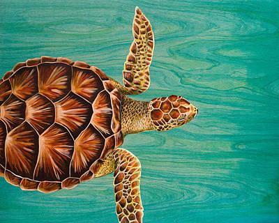 Sea Turtles Painting - Wise Honu  by Emily Brantley