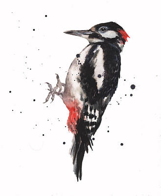 Woodpecker Painting - Wise Woody by Alison Fennell