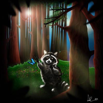 Raccoon Drawing - Wishing Upon A Dream by Alessandro Della Pietra