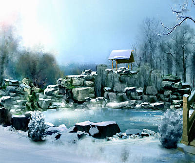 Snowscape Mixed Media - Wishing Well by Georgiana Romanovna