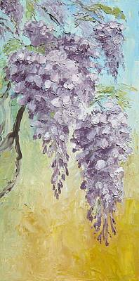 Wisteria And Gold Print by Mary Rogers