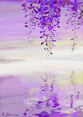 Watercolor Wisteria Painting - Wisteria Drops by Eliza Donovan