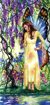 Watercolor Wisteria Painting - Wisteria Fairy by Patricia Allingham Carlson