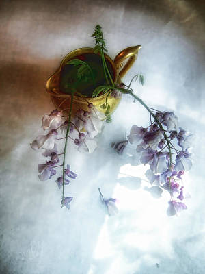 Wisteria Photograph - Wisteria In A Gold Pitcher Still Life by Louise Kumpf