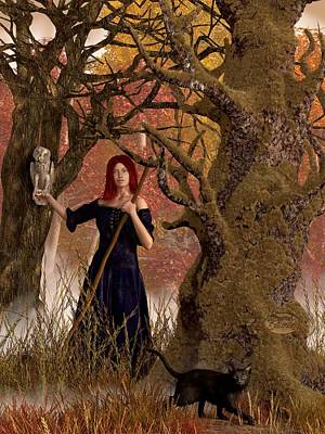 Wiccan Digital Art - Witch Of The Autumn Forest  by Daniel Eskridge