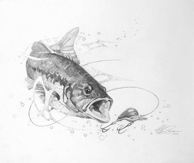 Bass Fishing Drawing - Within Striking Distance by T S Carson