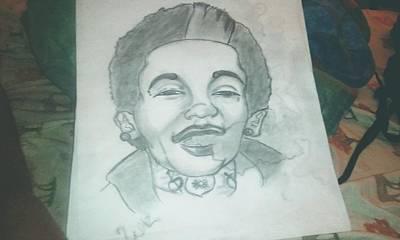 Wiz Khalifa Drawings Drawing - Wiz Khalifa by Dontay  Lockett