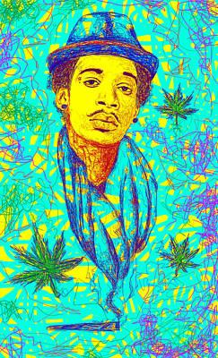 Wiz Drawing - Wiz Khalifa Drawing In Line by Pierre Louis