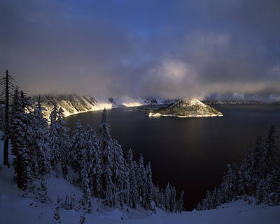Wizard Island At Crater Lake In Winter Print by Panoramic Images
