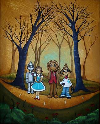 Wizard Painting - Wizard Of Oz - If I Only by Charlene Murray Zatloukal