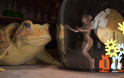 Mythical Glass Art Digital Art - Wizard's Desk Toad On Guard by Brainwave Pictures