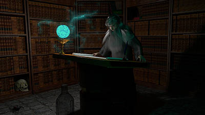 Mythical Glass Art Digital Art - Wizard's Study by Brainwave Pictures
