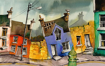 Wobbly Ardgroom In Glorious Technicolour Print by Val Byrne