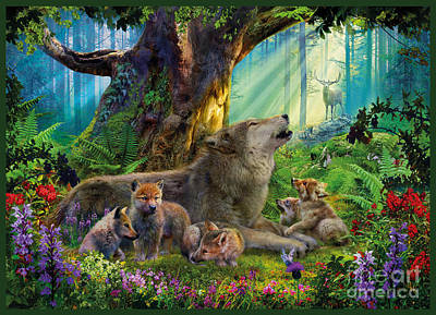Wolves Digital Art - Wolf And Cubs In The Woods by Jan Patrik Krasny