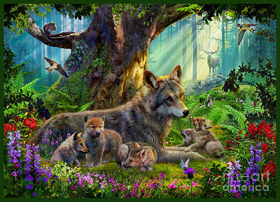 Wolves Digital Art - Wolf And Cubs by Jan Patrik Krasny