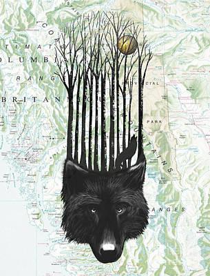 Black Dog Digital Art - Wolf Barcode by Sassan Filsoof