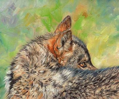 Animal Art Painting - Wolf by David Stribbling