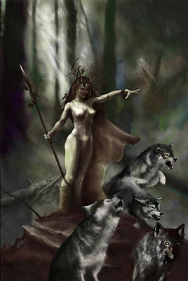 Druid Painting - Wolf Druid by Matt Kedzierski