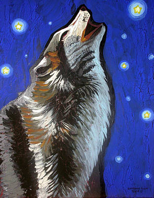 Wolf Howl Print by Genevieve Esson