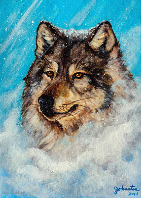 Wolf In A Snow Storm Print by Bob and Nadine Johnston