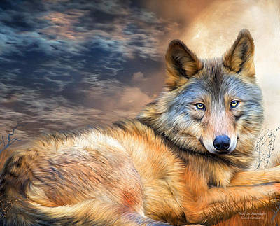 Wolf In Moonlight Print by Carol Cavalaris