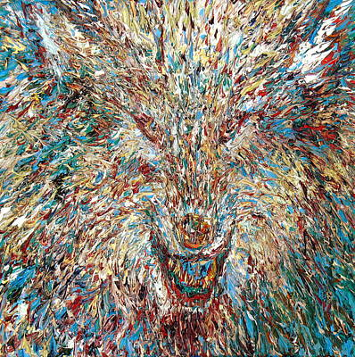 Wolf Face Painting - Wolf - Oil Portrait by Fabrizio Cassetta