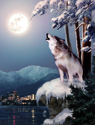 Wolf On The Doorstep Of Civilization  Print by Regina Femrite