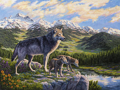 Mountain Valley Painting - Wolf Painting - Passing It On by Crista Forest