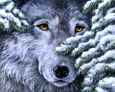 Wolf Face Painting - Wolf - Peering Out by Sharon Molinaro