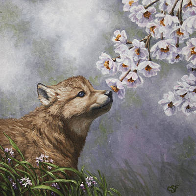 Wolves Painting - Wolf Pup - Baby Blossoms by Crista Forest