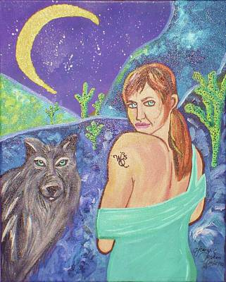 Oshun Painting - Wolf Queen's Vision Quest by Ifeanyi C Oshun