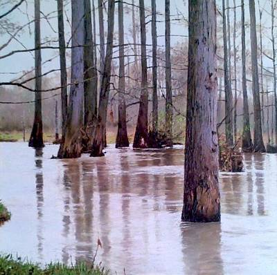 Bottomlands Painting - Wolf River Near Moscow Tennessee by Mike DeWitt