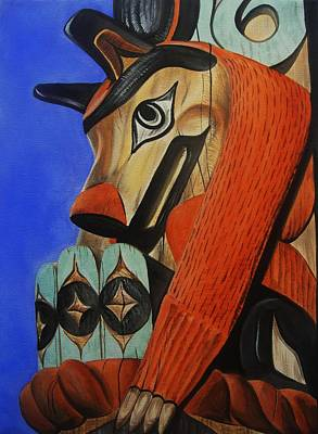 Totem Pole Painting - Wolf Totem by Lucy Deane